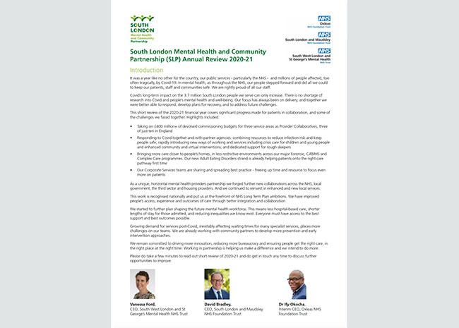 SLP Mental Health Publications SLP Annual Review 2020-21